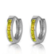 1 Carat 14K Solid White Gold Hoop Huggie Earrings Peridot - $224.86