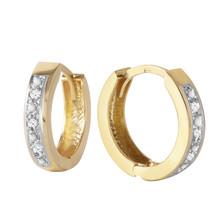 0.04 Carat 14K Solid Gold Hoop Huggie Earrings Diamond - $271.13