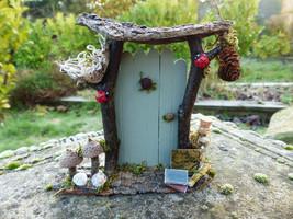Green Fairy Door with Bird's Nest-  Fairy Garden, Fairy House, Fairy Fur... - $27.85