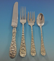 Rose by Stieff Sterling Silver Flatware Set For 12 Service 48 Pieces Repousse - $2,300.00