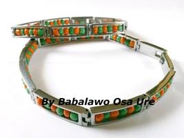Idde Orunmila Orange Green Beads,Open, Ilde, Stainless Steel, Babalawo, ... - $39.99