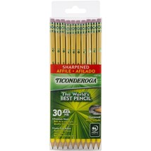 Dixon Ticonderoga Wood-Cased 2HB Pencils, Pre-Sharpened, Box of 30, Yell... - $16.78