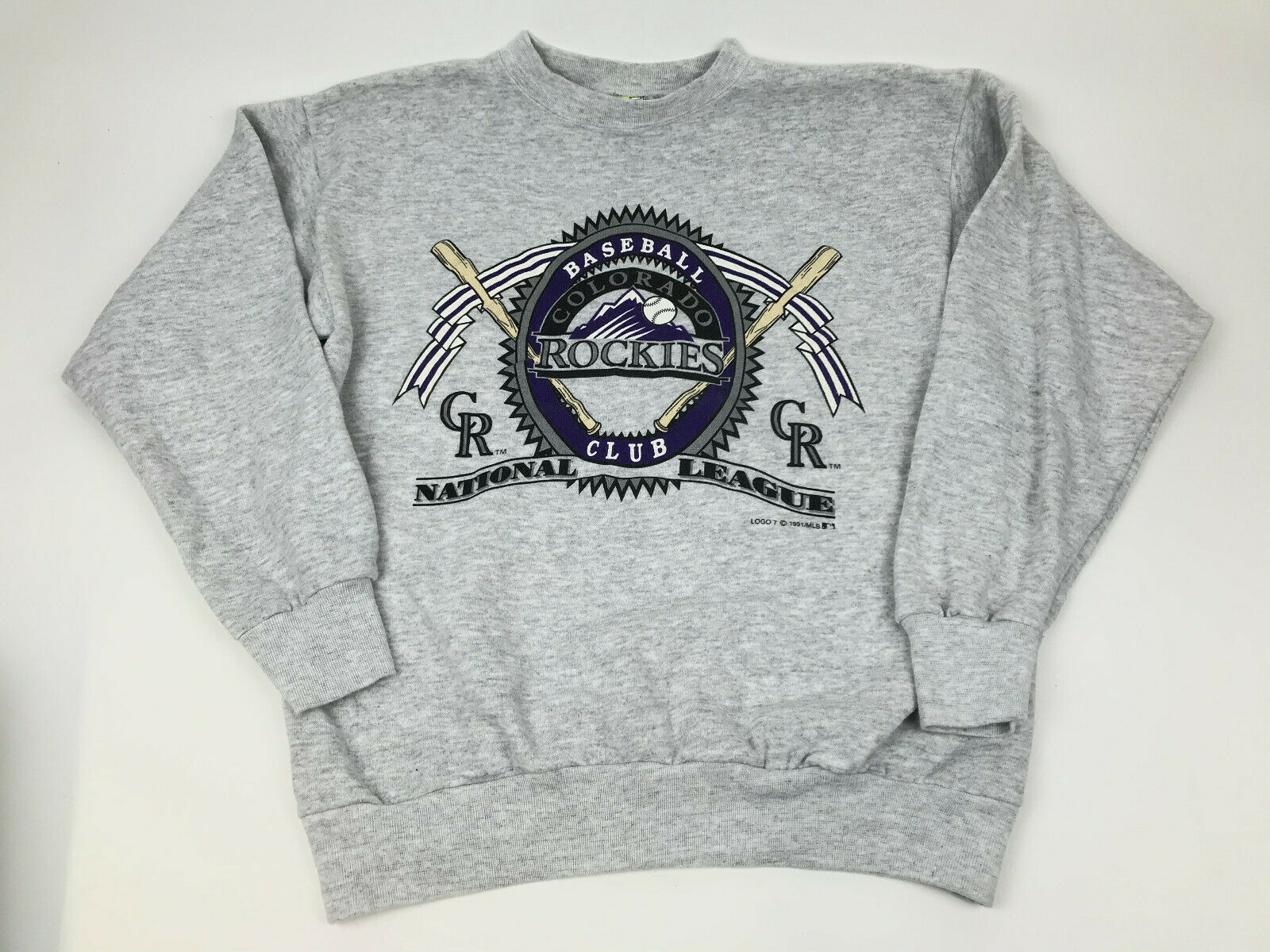 Primary image for Vtg 90s COLORADO ROCKIES Pullover Sweatshirt LOGO 7 1991 MLB Large Graphic