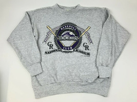 Vtg 90s COLORADO ROCKIES Pullover Sweatshirt LOGO 7 1991 MLB Large Graphic - $34.65