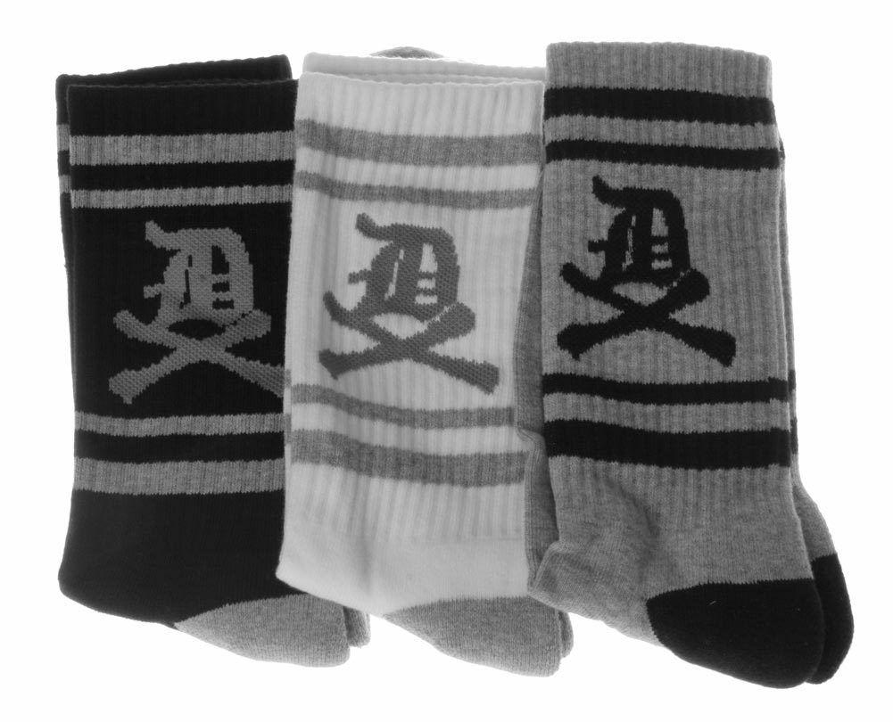 Dissizit! 3 Paquete De Inglés Antiguo D X De Huesos Blanco Gris Negro Crew Socks