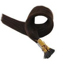 Full Shine Fusion Tip Hair Extensions Stick Shaped Tip 16 Inch Remy Human Hair E