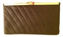 Brown Quilted Clutch stripes gold chain shoulder strap vintage bag big w... - $44.55