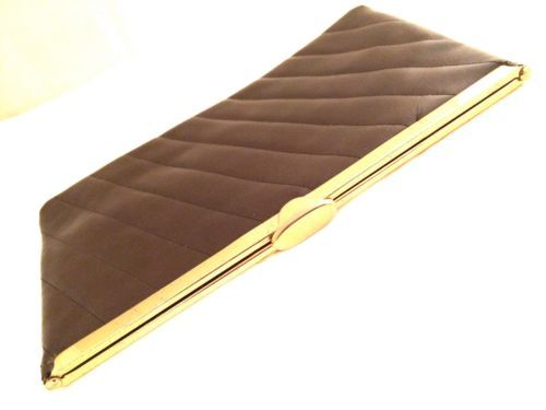 Brown Quilted Clutch stripes gold chain shoulder strap vintage bag big wallet ev