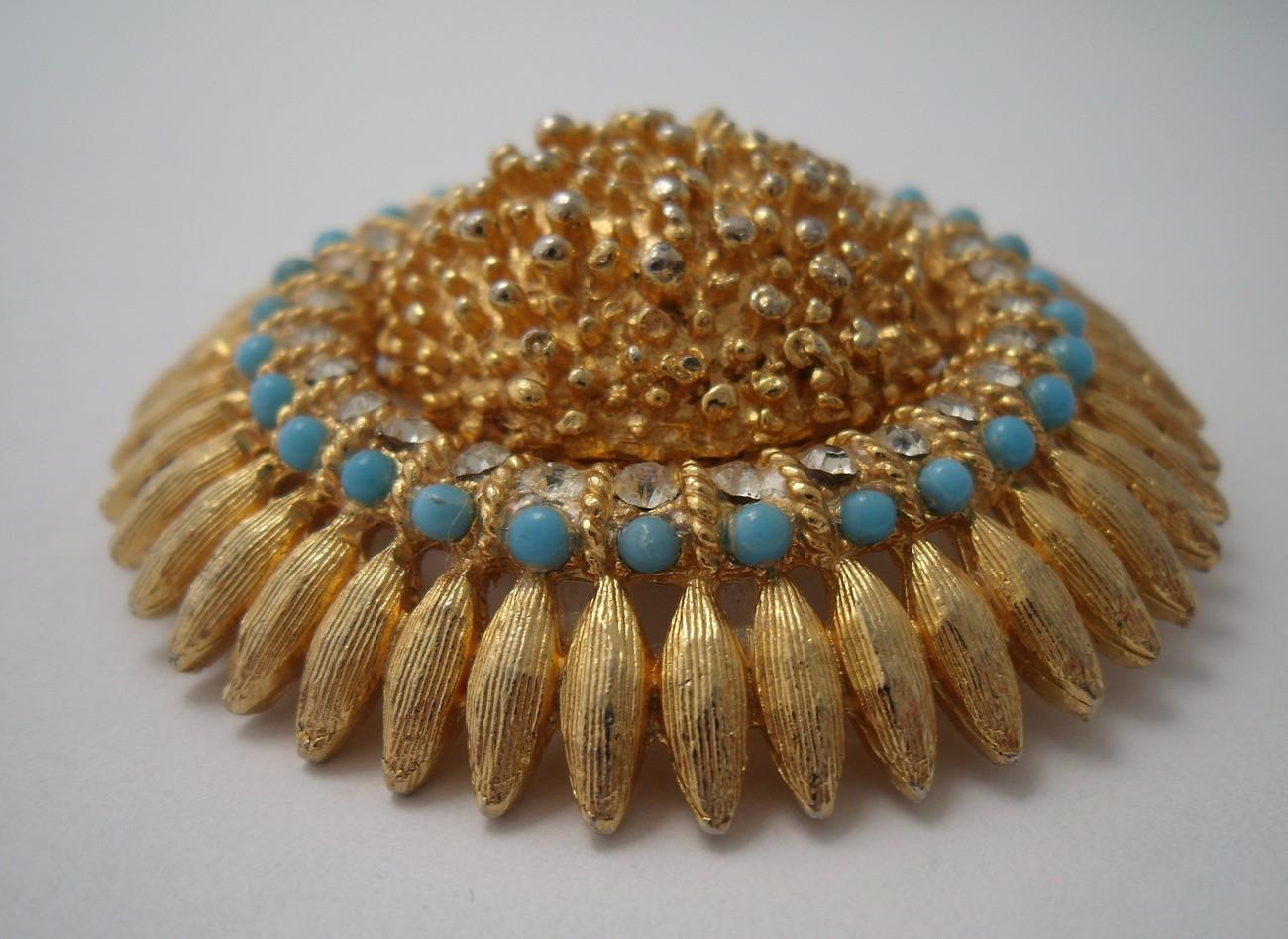 Stunning turquoise and rhinestone sunflower brooch