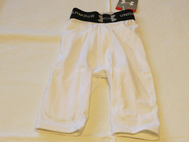 Under Armour Heatgear Youth S shorts white 5 pocket girdle football *spots* NOS - $23.75
