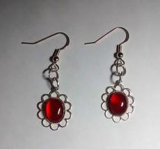 pretty carnelian silver plated dangle earrings - $4.95