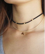 Black Suede Choker with Gold Beads and Elephant Charm Necklace, Thin Bla... - $15.80