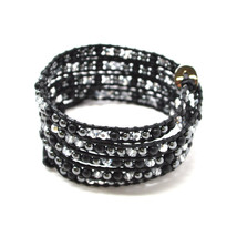 NEW Black Leather Wrap Bracelet and String Flat  Metalltic Clear Faceted... - $14.35