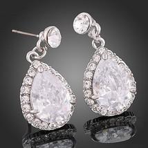 Stone Teardrop Earrings Pair with Zircon Crystals Fashion Jewelry Wear for Women - $14.25
