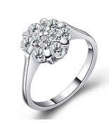 Beautiful Cluster Element Crystal Ring Clear Silver Jewelry Fashion - $15.99