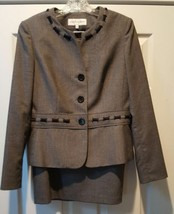Skirt Suit Jones New York Size 8 Belted Rope Detail Black White Stretch - $42.06