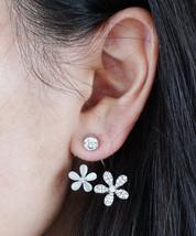 Flower Ear Jacket, Valentines Gift Idea, Double Flower Earring, Peekaboo Front - $14.25
