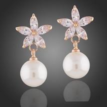 Women's Starfish Earring Designed Glass Pearl Drop Down Jewelry Pair - $14.25
