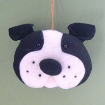 Boston Terrier Dog Head Christmas Ornament - $5.95