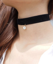 Black Velvet Choker, Wide Black Suede Choker with Crystal Charm, Charm C... - $14.08