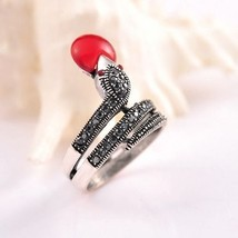 Snake Shaped Ring Made of Black and Red Czech Crystal Jewelry Fashion Band - $15.99