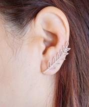Silver Leaves Ear Climber Ear Cuff Ear Crawler Nature Ear Crawler Earrings - $14.21