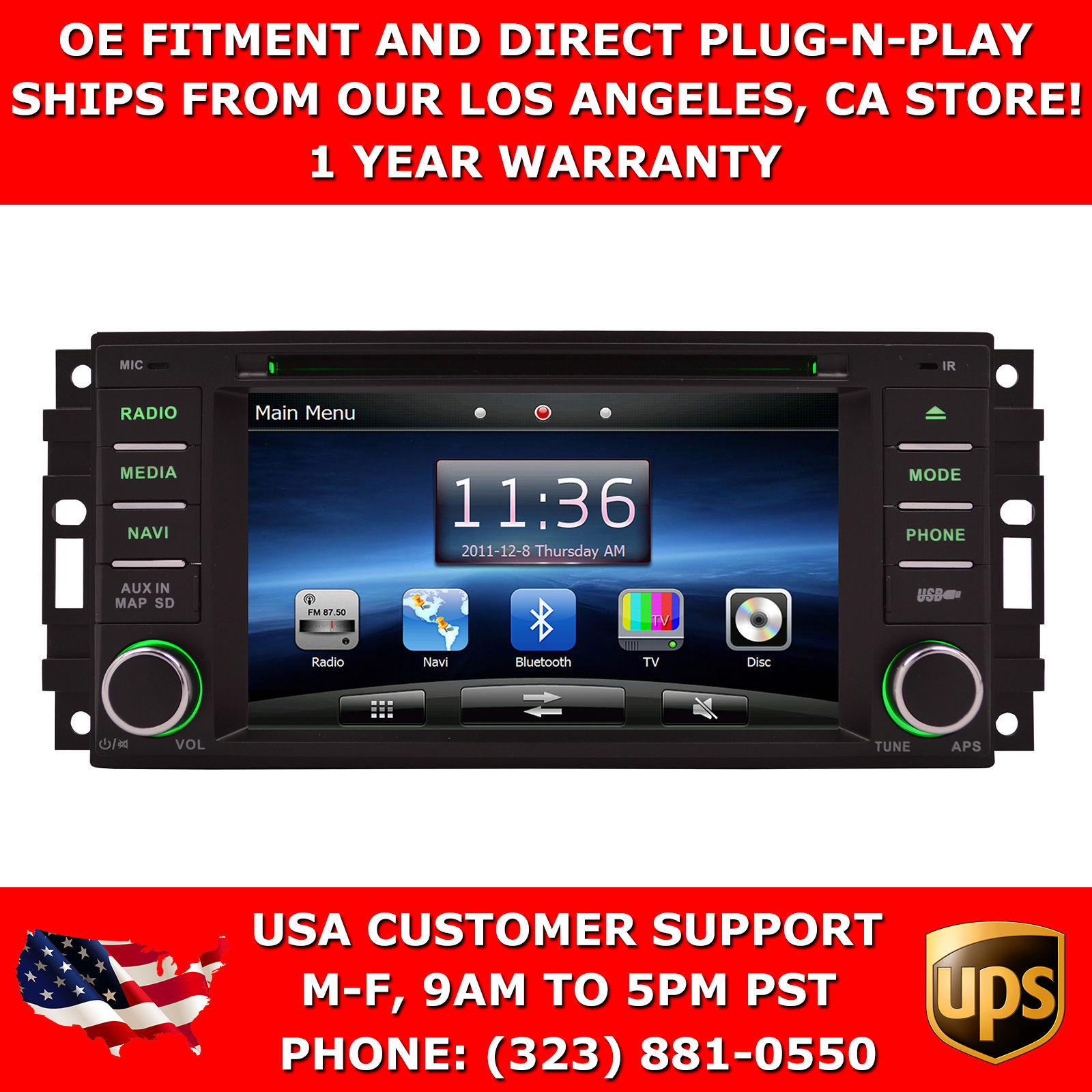 "2008-2011 Chrysler Aspen 6"" GPS Navigation Stereo Radio w/ Bluetooth DVD"