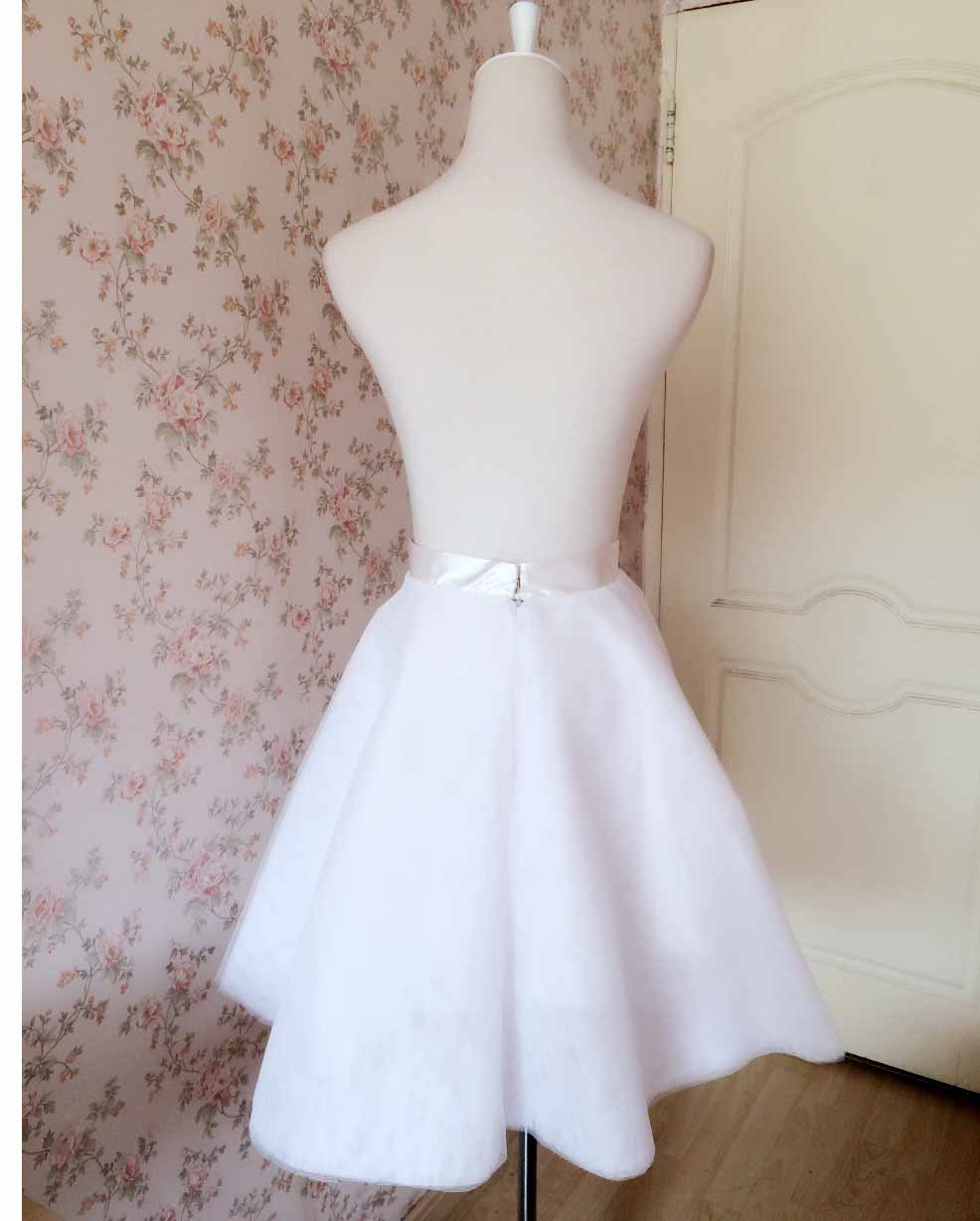 NUDE Knee Length High Waist A-line Tulle CIRCLE SKIRT Lady Nude Bridesmaid Skirt