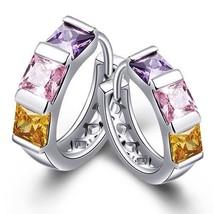 Ladies Cubic Zircon Square Purple, Pink & Yellow Stone Crystal Huggie Earrings - $14.21
