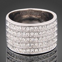 Five Band Ring with Small Crystal Stones Beautiful Shiny Classy Jewelry ... - $19.99