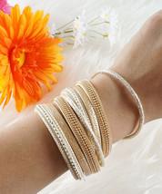 Gold Beaded Bracelet, Sandy Beige Vegan Leather Wrap Bracelet, Grey Choker Neck - $11.80