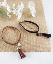 Black or Brown Suede Tassel Bracelet Layering Bracelet Gold Chain Bracelet - $14.35