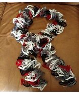 Exquisite hand knit frilly red, white, & black festive fashion scarf - $20.00