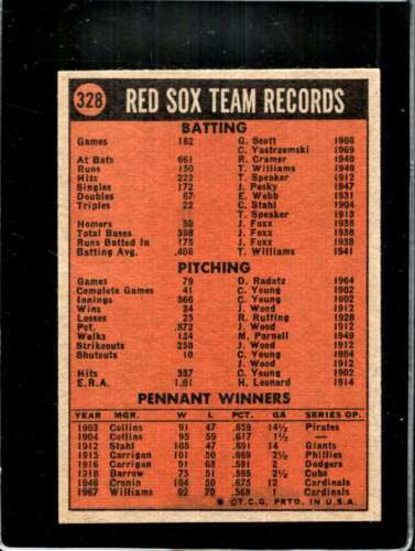 1972 TOPPS #328 RED SOX TEAM VG+ RED SOX NICELY CENTERED  *X01262