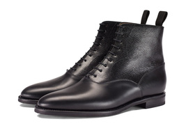Made To Order Men's High Ankle Black Color Patent Genuine Leather Lace up Boots