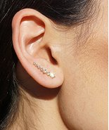 Stunning Gold Shooting Comet Ear Cuff Earrings with 7 crystal stones - $24.45