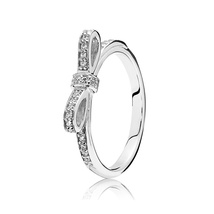 925 Sterling Silver Sparking Bow Ring with Clear Zirconia For Women - $21.98