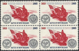 1965 Battle of New Orleans Block of 4 US Postage Stamps Catalog Number 1261 MNH