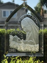 Madonna & Child Vintage Clear Acrylic Chapel Shaped Christmas Ornament 1981 - $6.92
