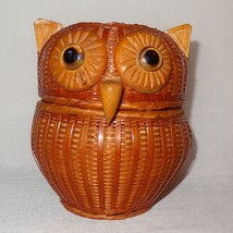 Vintage Wicker Bamboo Owl Basket Brown Two halves that fit together Larg... - $29.46