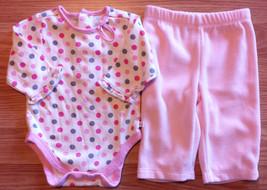 Girl's Size 0-3 M Months Cream Polka Dot TCP Place L/S Top, Carters Fleece Pants - $14.00