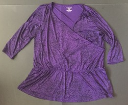 Lane Bryant Purple Cheetah Print Shirt 14/16 Cold Shoulder Plunging Neckline Top - $7.91