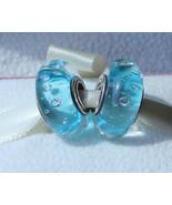Blue Effervescence Fizzle Murano Glass Charm Bead For European Bracelet - $9.99