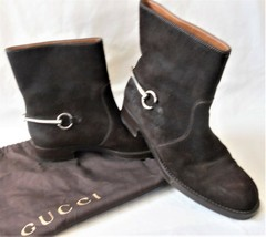 Gucci Ankle Boot Susan Riding 39 Euro Horsebit Motorcycle Brown Distressed Suede - $385.99