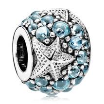 925 Sterling Silver Oceanic Starfish W/ Frosty Mint & Clear Zirconia Cha... - €18,88 EUR