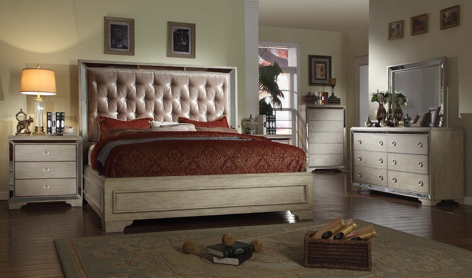 Mcferran RB9805 Imperial Eastern Queen Bedroom set 5.pc Chic Contemporary Style