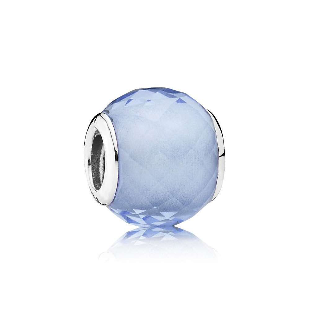 925 Sterling Silver Petite Facets Charm Bead with Synthetic Blue Quartz