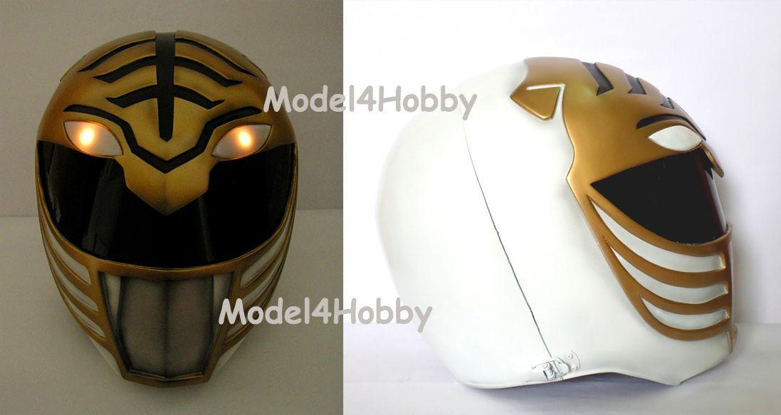 Lighted up! Outside Cliplock! Mighty Morphin Power WHITE RANGER 1/1 Scale Helmet