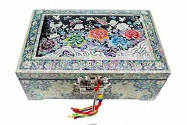 Mother of pearl trinket jewelry box jewel case organizer peony flower black - €326,70 EUR