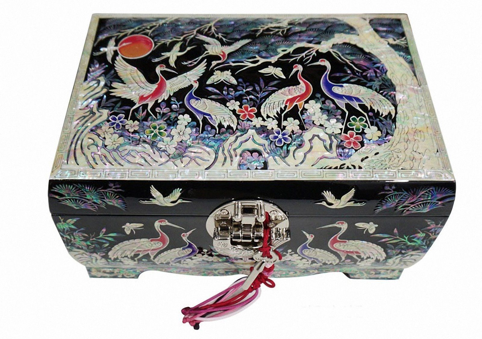 Mother of pearl wood  trinket jewelry box jewel case organizer crane black